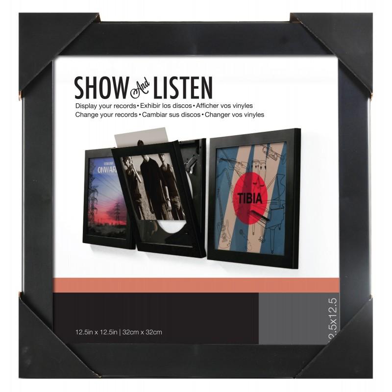 """Cadre pour disque vinyle à ouverture frontale - """"Show & Listen"""" NOIR"""