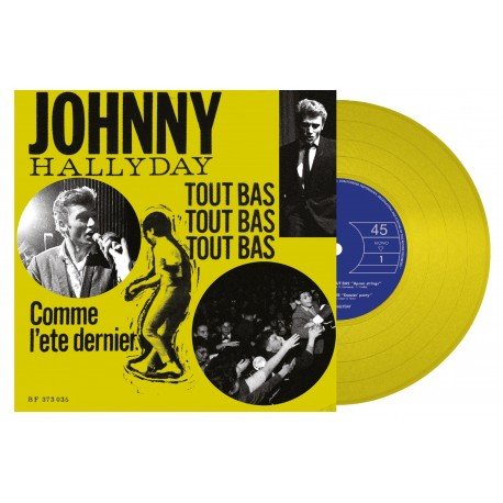 Johnny Hallyday - 45 Tours - Tout Bas, Tout Bas, Tout Bas - EP Pochette Danoise (Vinyle Jaune)