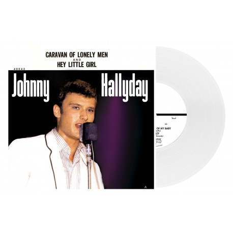 Johnny Hallyday - 45 Tours - Caravan Of Lonely Men - EP Pochette Américaine (Vinyle Blanc)