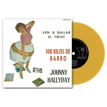 Johnny Hallyday - 45 Tours - 100 Kilos De Barro - EP Pochette Espagnole (Vinyle Orange)