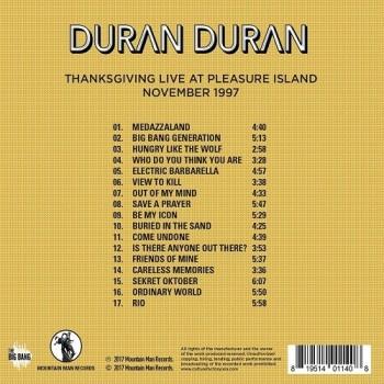 Duran Duran - CD - Thanksgiving Live At Pleasure Island