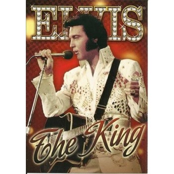Elvis Carte Postale The King Red Background