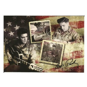 Elvis Carte Postale Flag Army