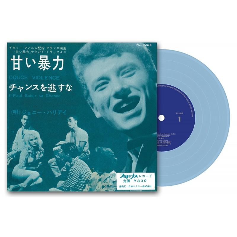 Johnny Hallyday - 45 Tours - Douce Violence - EP Pochette Japonaise (Vinyle Bleu)