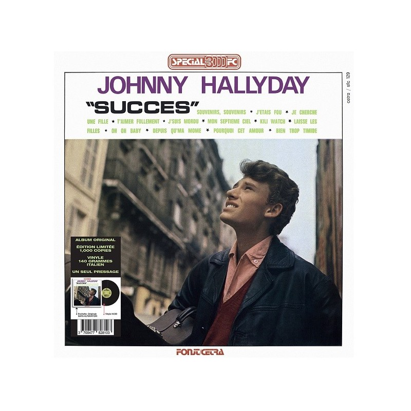Johnny Hallyday - 33 Tours - Vogue Made In Italie - Succès (Vinyle Noir)