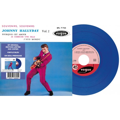 Johnny Hallyday - EP N°02 - Souvenirs, Souvenirs (Vinyle BLEU)